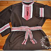 Русский стиль handmade. Livemaster - original item Men`s shirt made of linen in Slavic, Russian style. Handmade.