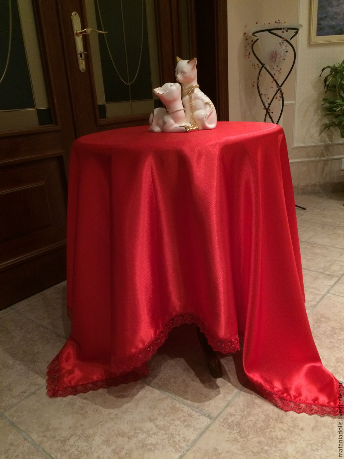 Superbe Order Tablecloth Red Silk. Matania. Livemaster. Red