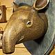 Интерьерные  маски ручной работы. Голова тапира на стену. 500 эскимо. Интернет-магазин Ярмарка Мастеров. Украшение интерьера