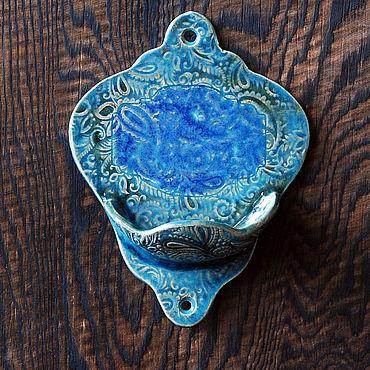 Косметика ручной работы. Ярмарка Мастеров - ручная работа Мыльница керамическая настенная в голубых тонах. Handmade.