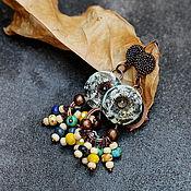 Украшения ручной работы. Ярмарка Мастеров - ручная работа серьги из полимерной глины с бисером бохо. Handmade.