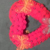 """Подарки к праздникам ручной работы. Ярмарка Мастеров - ручная работа """"Мягкое сердце"""" с бабочками и бусинами. Handmade."""