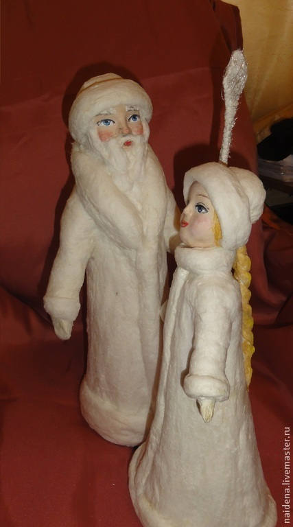 Новый год 2017 ручной работы. Ярмарка Мастеров - ручная работа. Купить Дед Мороз и Снегурочка из ваты для елки.. Handmade. Белый