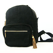 Сумки и аксессуары handmade. Livemaster - original item Backpack womens urban denim black casual. Handmade.