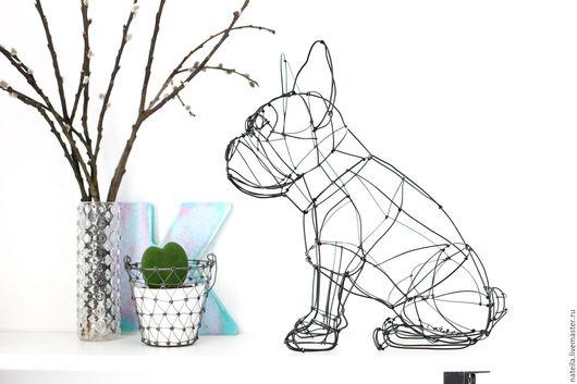 Nateila_wire_maker скульптура французского бульдога из алюминиевой проволоки
