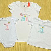 Одежда ручной работы. Ярмарка Мастеров - ручная работа Комплект футболок для семьи на годовасие девочки в стиле Family Look. Handmade.