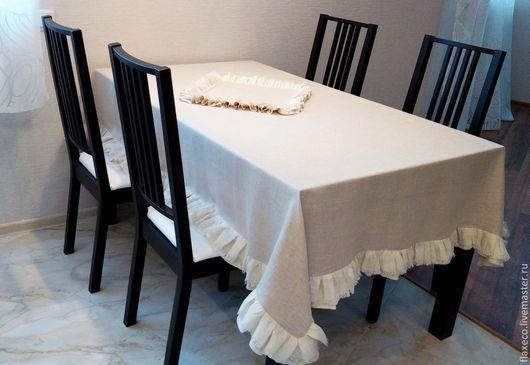 Текстиль, ковры ручной работы. Ярмарка Мастеров - ручная работа. Купить Льняная скатерть с рюшами « Злато».. Handmade. Бежевый