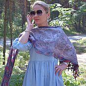 Аксессуары handmade. Livemaster - original item Felted scarf made of wool and silk.Double-sided Rose Scarf in the Garden. Handmade.
