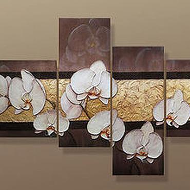 """Картины и панно ручной работы. Ярмарка Мастеров - ручная работа Объемная фреска """"Девять белых орхидей"""". Handmade."""