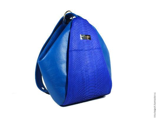 """Рюкзаки ручной работы. Ярмарка Мастеров - ручная работа. Купить Рюкзак из натурального питона """"Индиго"""". Handmade. Синий, сумка из питона"""