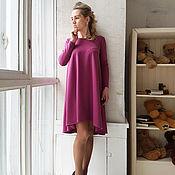 Одежда ручной работы. Ярмарка Мастеров - ручная работа Свободное короткое платье спелая черешня. Handmade.