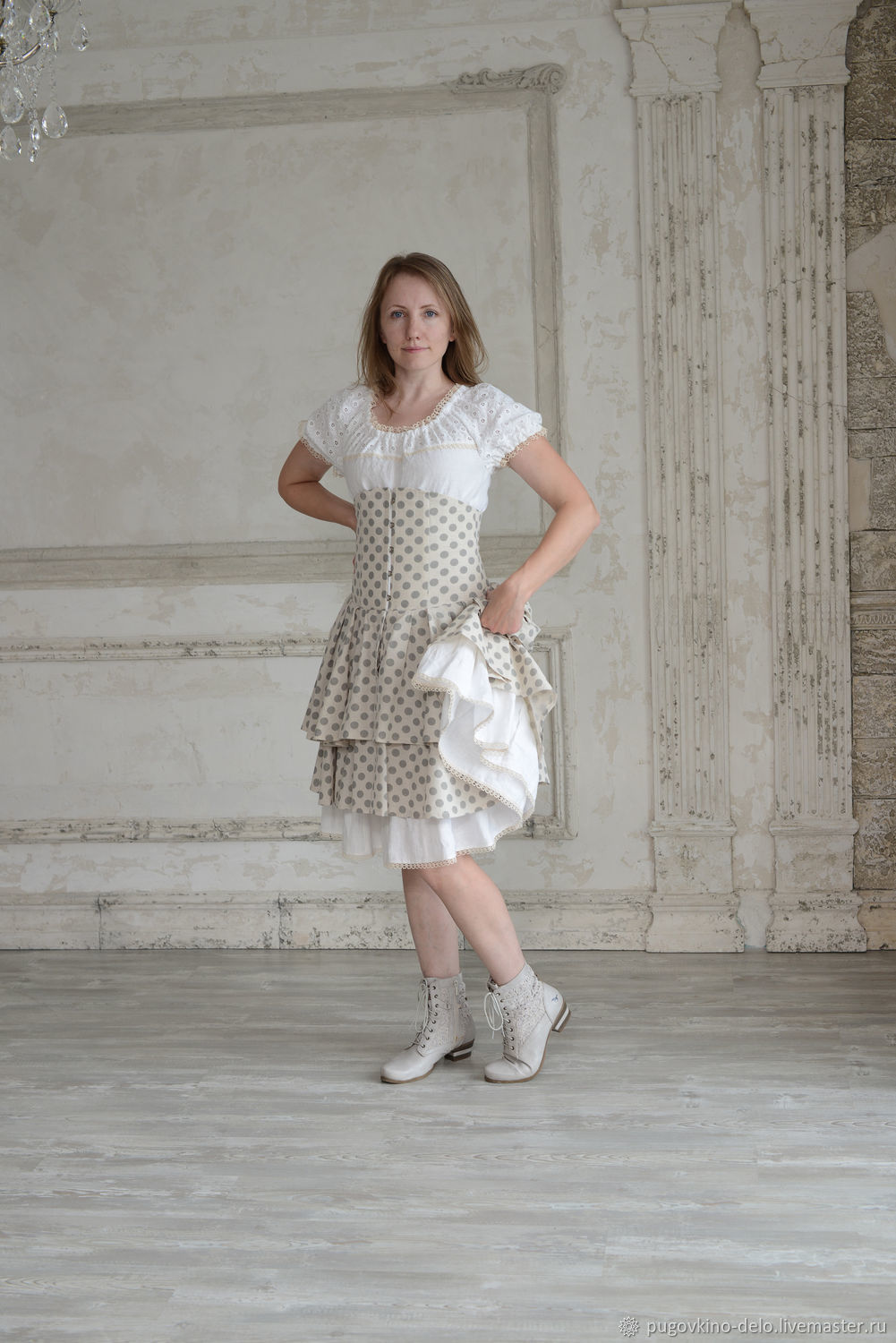 Skirt with a clasp Busk cotton polka dots, Skirts, Kemerovo,  Фото №1