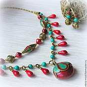 """Украшения ручной работы. Ярмарка Мастеров - ручная работа Колье """"Непал"""" (непальские бусины, коралл) + серьги в подарок. Handmade."""