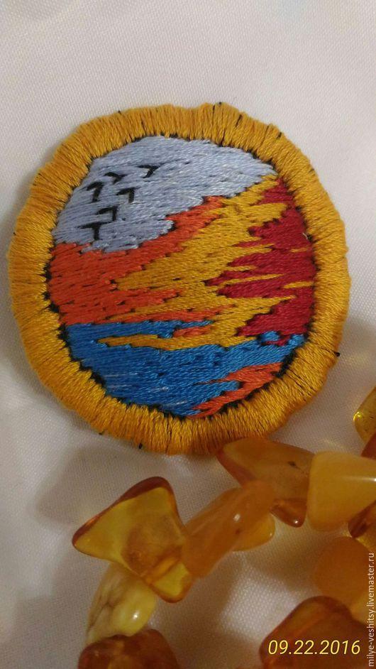 """Броши ручной работы. Ярмарка Мастеров - ручная работа. Купить Брошь вышитая """"Осень"""". Handmade. Оранжевый, осенняя мода"""