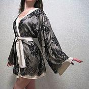 """Одежда ручной работы. Ярмарка Мастеров - ручная работа Халат кимоно с кружевом """"Jasmin"""". Короткий халатик. Handmade."""