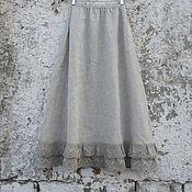Одежда ручной работы. Ярмарка Мастеров - ручная работа Юбка из серого льна Арт.101d с льняным кружевом. Handmade.