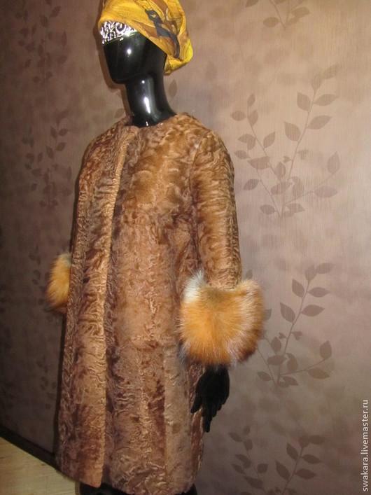 Верхняя одежда ручной работы. Ярмарка Мастеров - ручная работа. Купить Пальто из каракуля   с лисой. Handmade. Коричневый, шуба из каракульчи