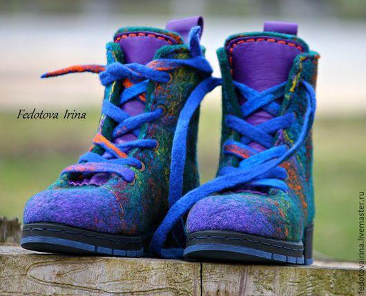 """Обувь ручной работы. Ярмарка Мастеров - ручная работа. Купить Ботинки войлочные """"Аметист"""",по мотивам.. Handmade. Комбинированный, ботинки валяные"""