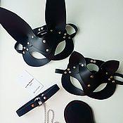 Аксессуары handmade. Livemaster - original item Leather cat or Bunny mask. Handmade.