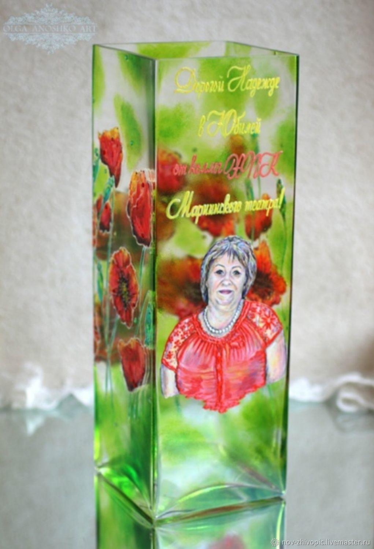 Vase 'Poppies' with a portrait, Vases, Velikiy Novgorod,  Фото №1