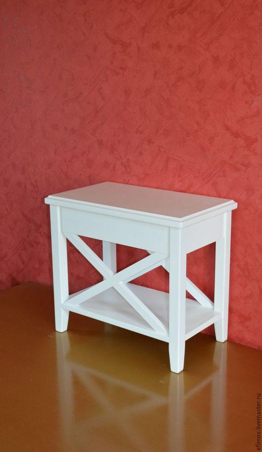 Мебель ручной работы. Ярмарка Мастеров - ручная работа. Купить Тумбочка прикроватная узкая. Handmade. Белый, мебель из дерева, эмаль