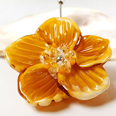 Decorations handmade. Livemaster - original item Brooch-flower