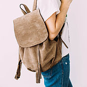 Сумки и аксессуары handmade. Livemaster - original item Backpack suede gray. Handmade.
