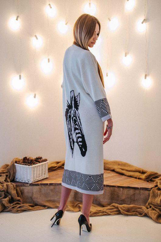 Верхняя одежда ручной работы. Ярмарка Мастеров - ручная работа. Купить Кардиган пальто ЗЕБРА ПРИНТ. Handmade. Кардиган вязаный
