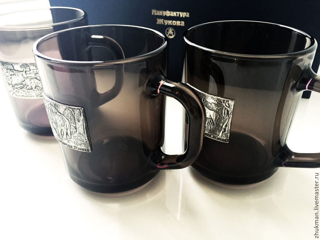 Set of black mugs 'Big hunt' (3 black circles), Gift Boxes, Zhukovsky,  Фото №1