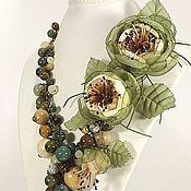 Украшения handmade. Livemaster - original item The Nymph Of The Woods. Necklace, pendant, two brooches - fabric flower.. Handmade.