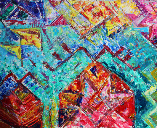 Абстракция ручной работы. Ярмарка Мастеров - ручная работа. Купить Home. Handmade. Бирюзовый, абстракция, Живопись, масло