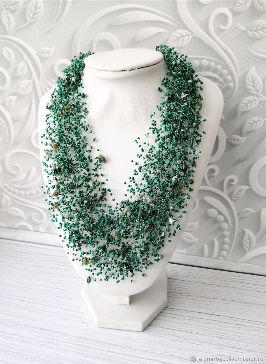 Air necklace with Jasper crumb, beaded necklace, Necklace, Chelyabinsk,  Фото №1