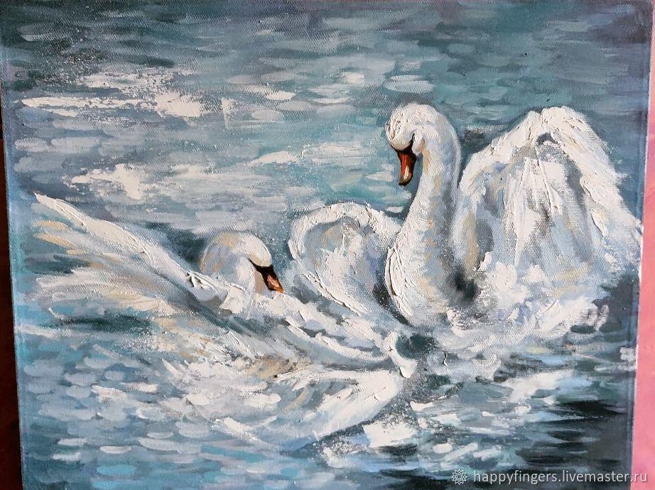 "Картина маслом ""Лебеди"" картина на заказ, Картины, Электросталь,  Фото №1"