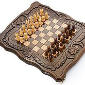 Активный отдых и развлечения handmade. Livemaster - original item Chess backgammon carved