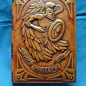 "Канцелярские товары handmade. Livemaster - original item Leather notebook ""VIVERE MILITARE EST"". Handmade."