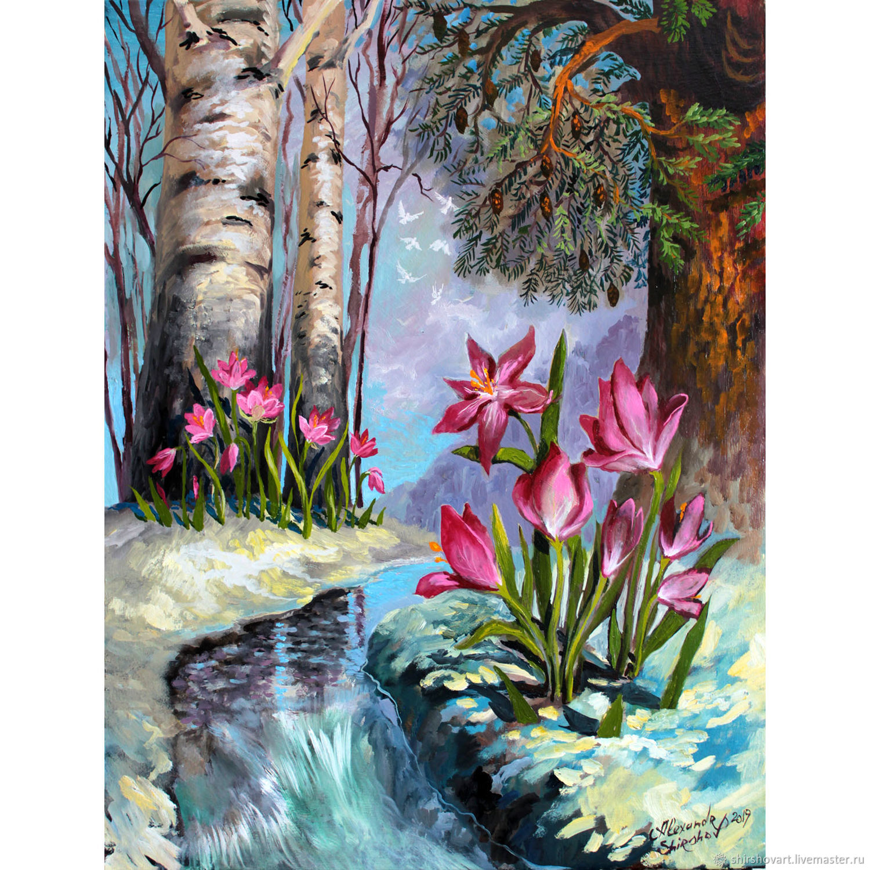 Картины цветов ручной работы. Ярмарка Мастеров - ручная работа. Купить Картина маслом 'Подснежники-первоцветы'. Handmade. Цветы