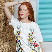 """Одежда ручной работы. Ярмарка Мастеров - ручная работа Белое вышитое платье сарафан """"Цветочный хоровод"""" ручная вышивка. Handmade."""