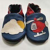Одежда детская handmade. Livemaster - original item Helicopter Baby Shoes, Blue Baby Shoes, Transport Baby Slippers. Handmade.
