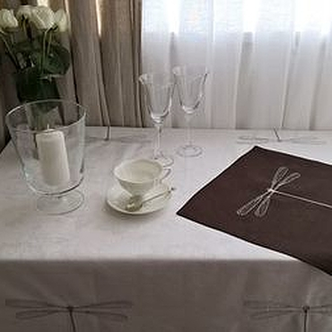 Для дома и интерьера ручной работы. Ярмарка Мастеров - ручная работа Салфетка льняная в скандинавском стиле шоколадная. Handmade.