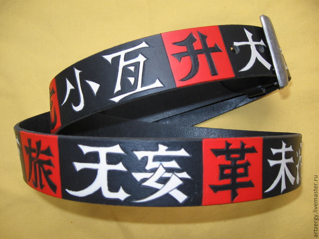strap leather 'Characters from the Chinese Book of changes', Straps, Moscow,  Фото №1