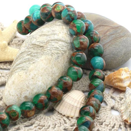 Для украшений ручной работы. Ярмарка Мастеров - ручная работа. Купить Мозаичный агат зеленые бусины шар 10мм - арт.7-15. Handmade.