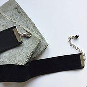 Чокер ручной работы. Ярмарка Мастеров - ручная работа Чёрный широкий бархатный чокер. Handmade.