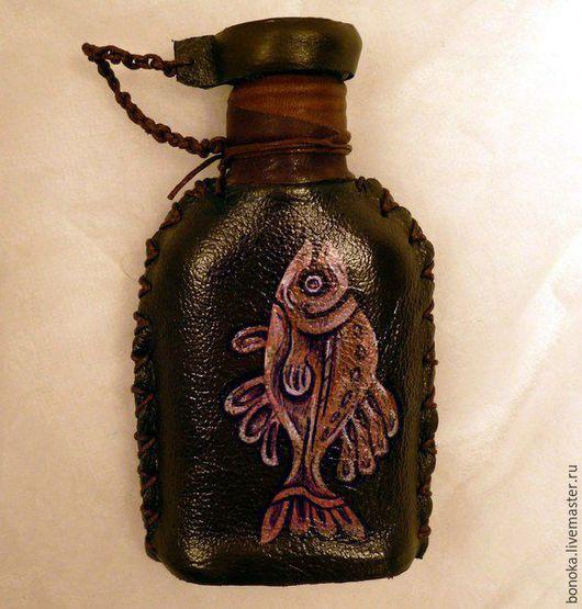 """Подарки для мужчин, ручной работы. Ярмарка Мастеров - ручная работа. Купить Фляжечка в коже """"Рыбалка"""". Handmade. Комбинированный, фляжка"""