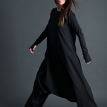 Clothing. Livemaster - original item Trendy, black loose-fitting jumpsuit-JP0157PM. Handmade.