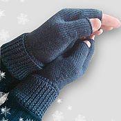 Аксессуары ручной работы. Ярмарка Мастеров - ручная работа Митенки перчатки вязаные мужские шерсть. Handmade.