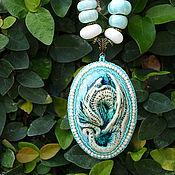 Украшения ручной работы. Ярмарка Мастеров - ручная работа Морской сине- зеленый дракон с бусами керамика. Handmade.
