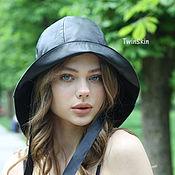 Аксессуары handmade. Livemaster - original item Fishing hat leather women`s black hat with brim genuine leather. Handmade.