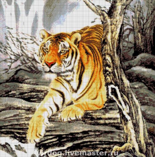 """Вышивка ручной работы. Ярмарка Мастеров - ручная работа. Купить Схема для вышивки БИСЕРОМ   """"тигр в горах"""". Handmade. Токарева"""