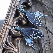 Украшения handmade. Livemaster - original item Butterfly earrings Papilio polyxenes leather. Handmade.