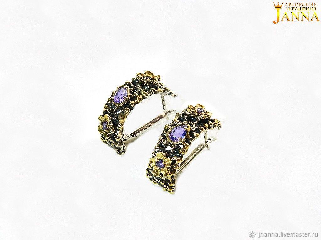 Amethyst 'Venice' stud earrings with amethyst, Earrings, Volgograd,  Фото №1